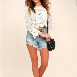 Lulus White Crochet Top